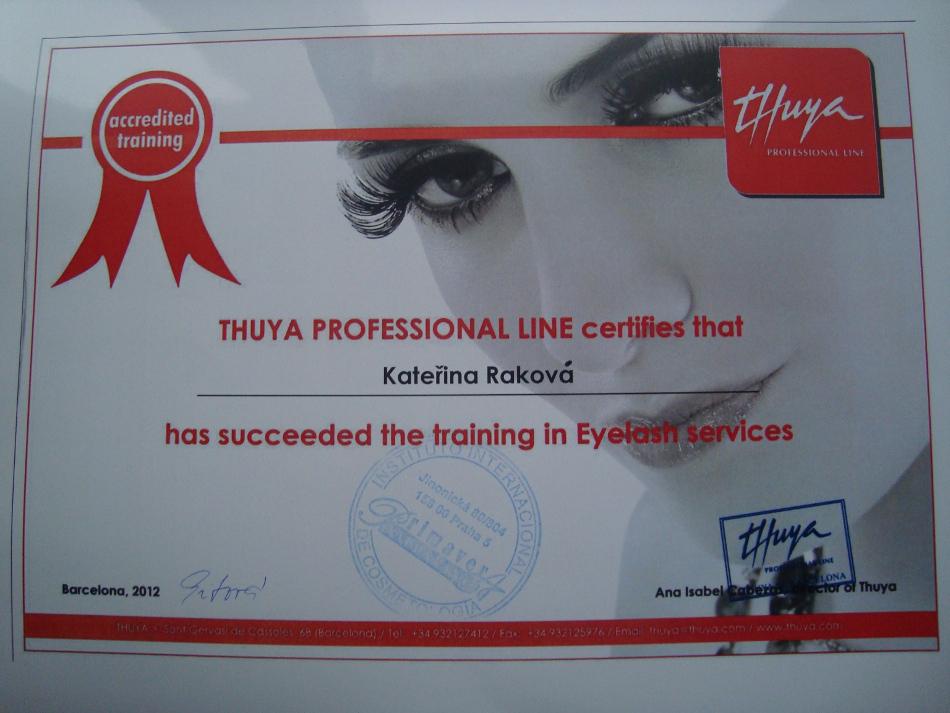 Certifikát - trvalá na řasy