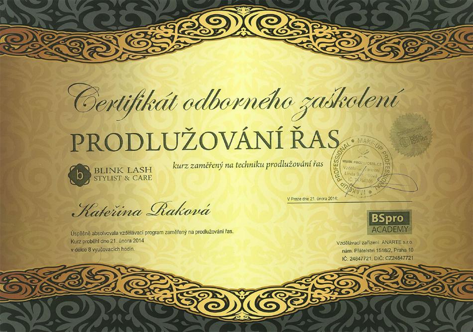 Certifikát odborného zaškolení prodlužování řas